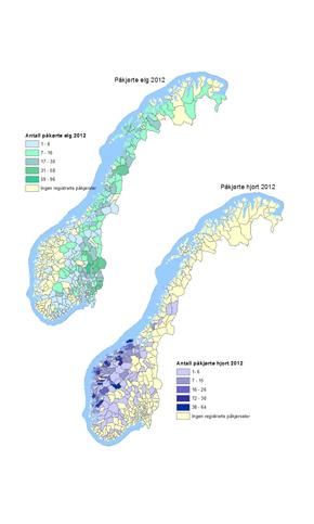 Kartet viser antall rapporterte påkjørsler av motorkjøretøy på elg og hjort i landets kommuner i 2012. (Alle illustrasjoner: Hjorteviltregisteret.no)