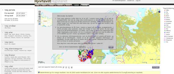 Slik ser kartvisningen ut før du har lagt inn dine ønskelige søk. Den grå boksen gir deg informasjon om hvordan kartet kan brukes.