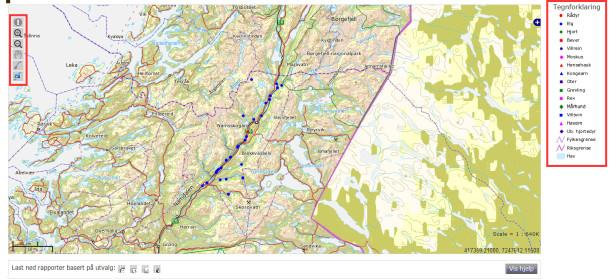 Kartbildet zoomer inn til ditt ønskede område. Karthjelpemidler til venstre i kartbildet og tegnforklaring til høyre.