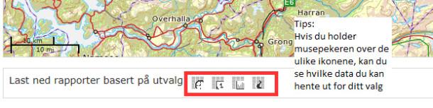Nederst i kartbildet kan ulike rapporter hentes ut.