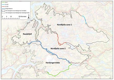 Nordfjella. Kart.